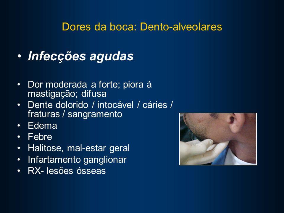 Dores da boca: Dento-alveolares Infecções agudas Dor moderada a forte; piora à mastigação; difusa Dente dolorido / intocável / cáries / fraturas / sangramento Edema Febre Halitose, mal-estar geral Infartamento ganglionar RX- lesões ósseas