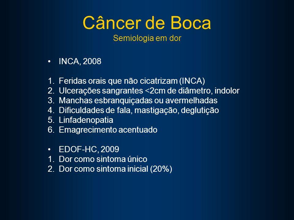 Câncer de Boca Semiologia em dor INCA, 2008 1.Feridas orais que não cicatrizam (INCA) 2.Ulcerações sangrantes <2cm de diâmetro, indolor 3.Manchas esbranquiçadas ou avermelhadas 4.Dificuldades de fala, mastigação, deglutição 5.Linfadenopatia 6.Emagrecimento acentuado EDOF-HC, 2009 1.Dor como sintoma único 2.Dor como sintoma inicial (20%)