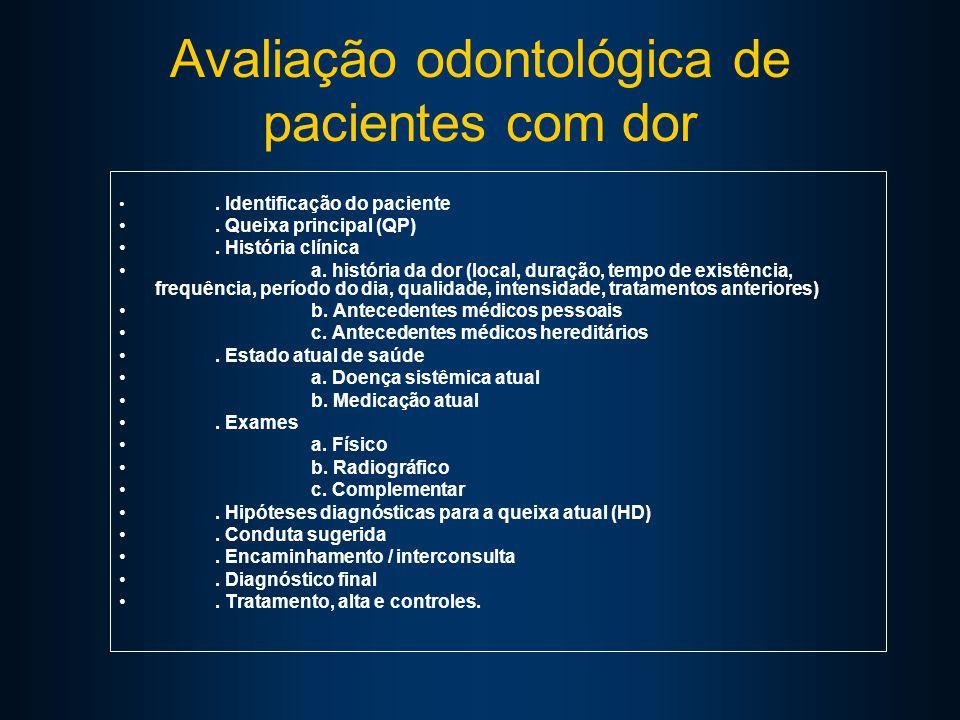Avaliação odontológica de pacientes com dor. Identificação do paciente.
