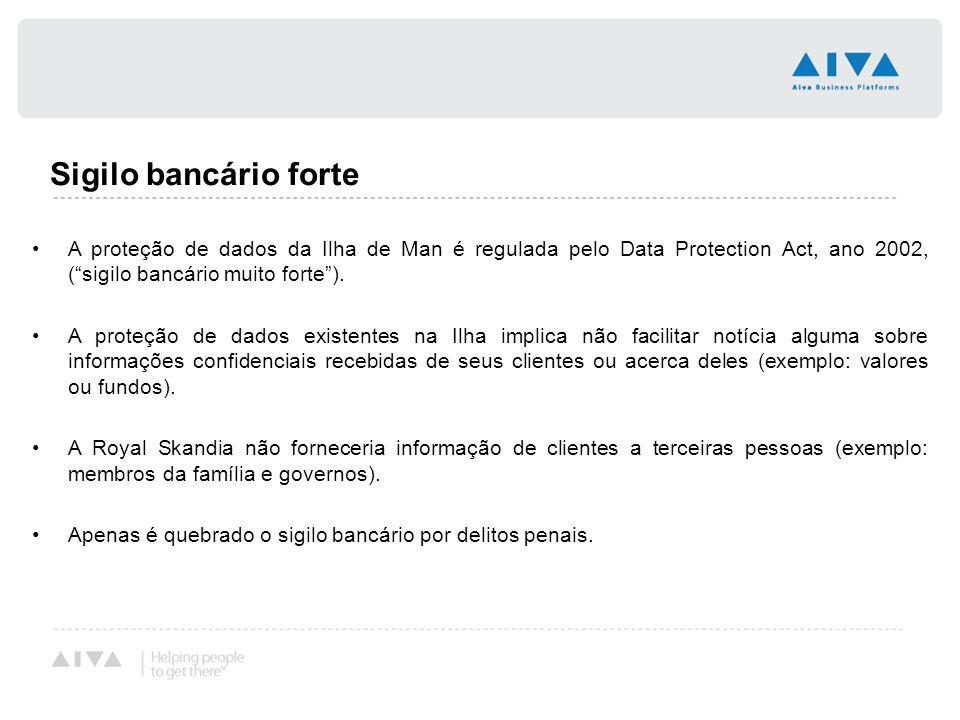 """Sigilo bancário forte A proteção de dados da Ilha de Man é regulada pelo Data Protection Act, ano 2002, (""""sigilo bancário muito forte""""). A proteção de"""