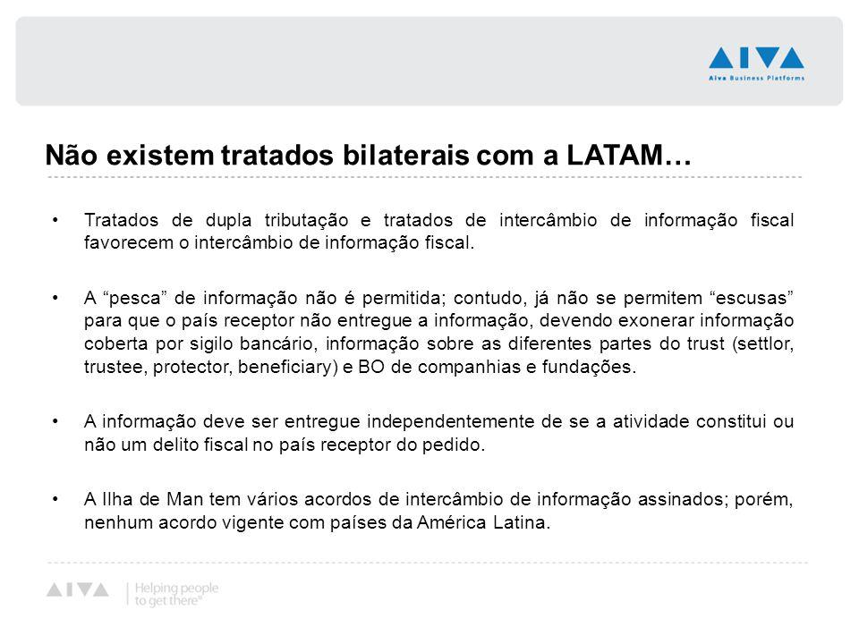 Não existem tratados bilaterais com a LATAM… Tratados de dupla tributação e tratados de intercâmbio de informação fiscal favorecem o intercâmbio de in