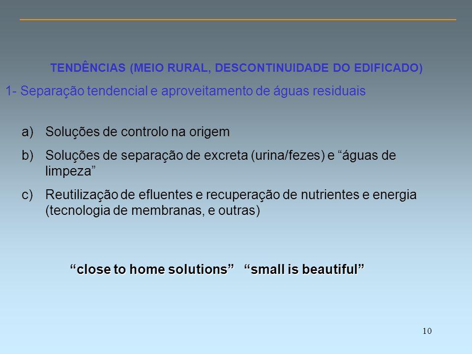 10 TENDÊNCIAS (MEIO RURAL, DESCONTINUIDADE DO EDIFICADO) 1- Separação tendencial e aproveitamento de águas residuais a)Soluções de controlo na origem b)Soluções de separação de excreta (urina/fezes) e águas de limpeza c)Reutilização de efluentes e recuperação de nutrientes e energia (tecnologia de membranas, e outras) close to home solutions small is beautiful