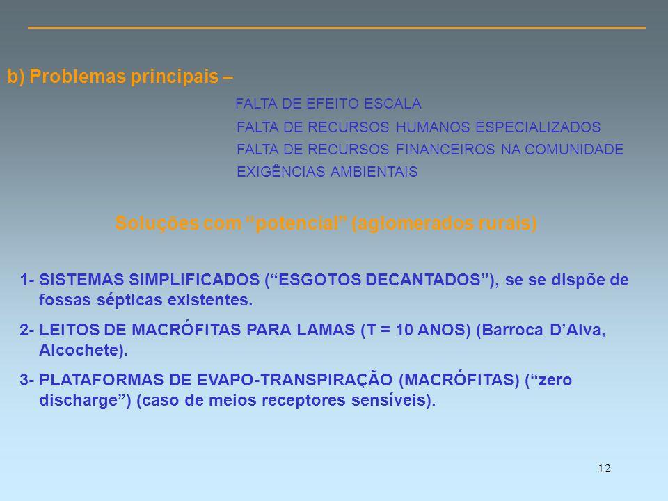 12 Soluções com potencial (aglomerados rurais) 1- SISTEMAS SIMPLIFICADOS ( ESGOTOS DECANTADOS ), se se dispõe de fossas sépticas existentes.