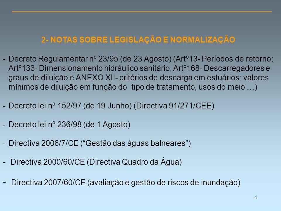 4 2- NOTAS SOBRE LEGISLAÇÃO E NORMALIZAÇÃO -Decreto Regulamentar nº 23/95 (de 23 Agosto) (Artº13- Períodos de retorno; Artº133- Dimensionamento hidráulico sanitário, Artº168- Descarregadores e graus de diluição e ANEXO XII- critérios de descarga em estuários: valores mínimos de diluição em função do tipo de tratamento, usos do meio …) -Decreto lei nº 152/97 (de 19 Junho) (Directiva 91/271/CEE) -Decreto lei nº 236/98 (de 1 Agosto) -Directiva 2006/7/CE ( Gestão das águas balneares ) - Directiva 2000/60/CE (Directiva Quadro da Água) - Directiva 2007/60/CE (avaliação e gestão de riscos de inundação)
