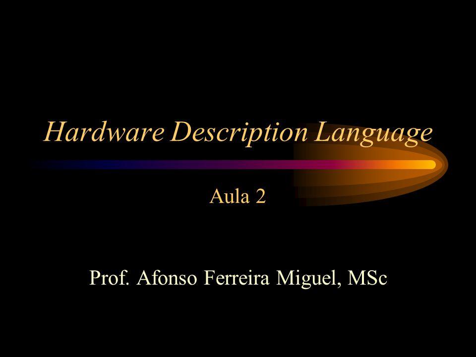 HDL - Linguagens As HDLs mais conhecidas –VHDL –Verilog HDL –AHDL –Abel HDL –PHDL –Handel-C (http://www.celoxica.com)