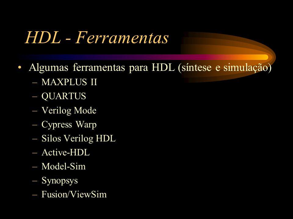 HDL - Ferramentas Algumas ferramentas para HDL (síntese e simulação) –MAXPLUS II –QUARTUS –Verilog Mode –Cypress Warp –Silos Verilog HDL –Active-HDL –Model-Sim –Synopsys –Fusion/ViewSim