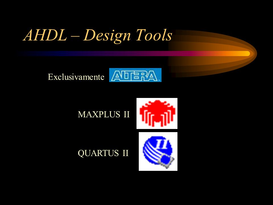 AHDL – Design Tools MAXPLUS II QUARTUS II Exclusivamente