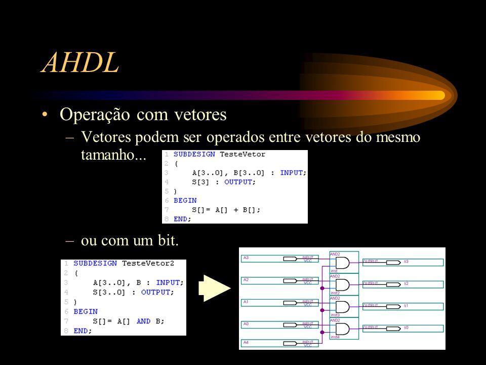 AHDL Operação com vetores –Vetores podem ser operados entre vetores do mesmo tamanho...