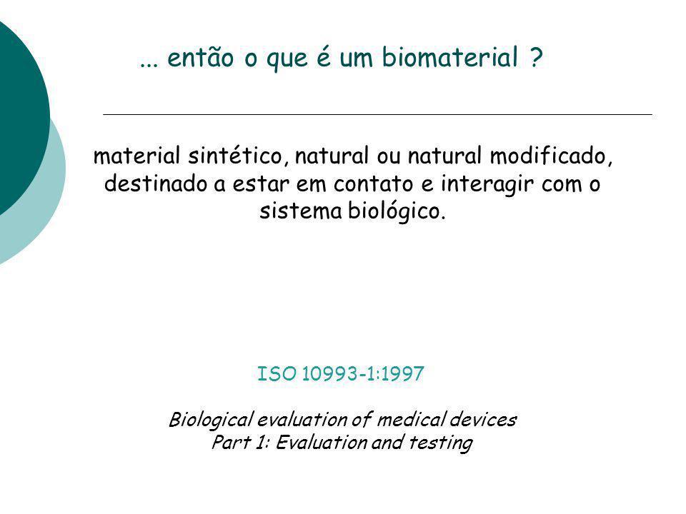 ... então o que é um biomaterial ? material sintético, natural ou natural modificado, destinado a estar em contato e interagir com o sistema biológico