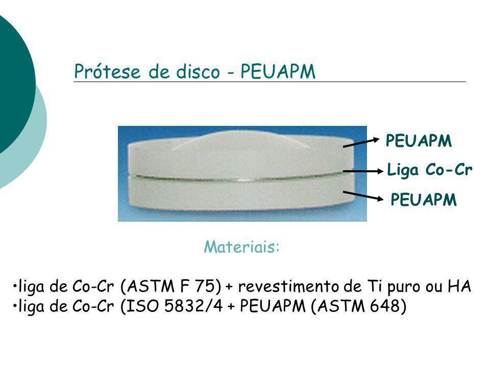 Prótese de disco - PEUAPM PEUAPM Liga Co-Cr PEUAPM Materiais: liga de Co-Cr (ASTM F 75) + revestimento de Ti puro ou HA liga de Co-Cr (ISO 5832/4 + PE
