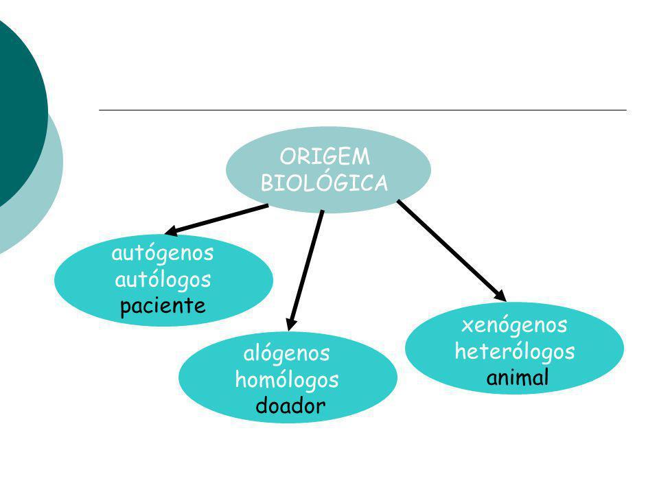 ORIGEM BIOLÓGICA autógenos autólogos paciente alógenos homólogos doador xenógenos heterólogos animal