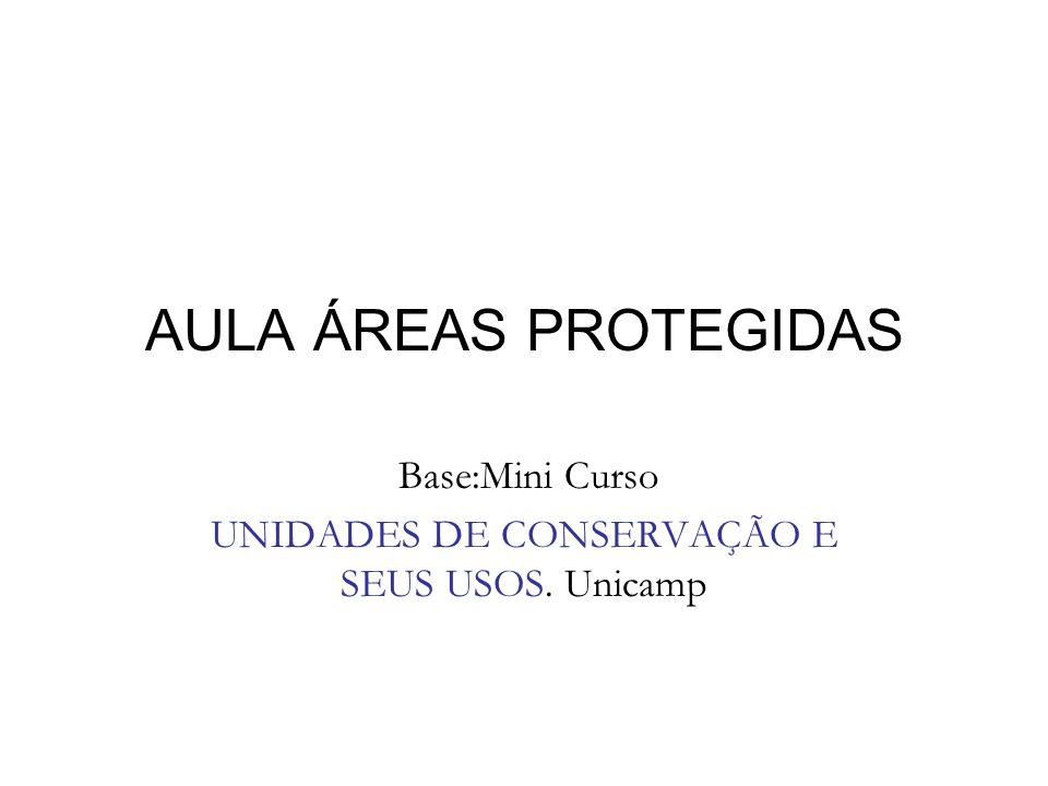 AULA ÁREAS PROTEGIDAS Base:Mini Curso UNIDADES DE CONSERVAÇÃO E SEUS USOS. Unicamp