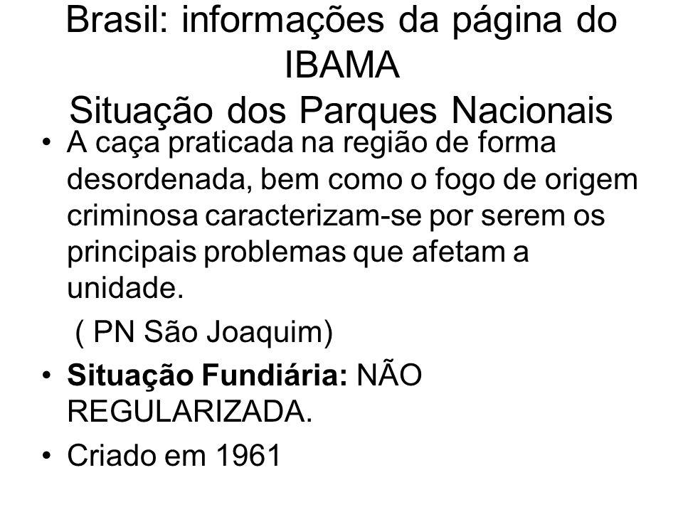 Brasil: informações da página do IBAMA Situação dos Parques Nacionais A caça praticada na região de forma desordenada, bem como o fogo de origem crimi