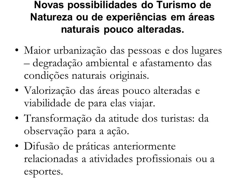 Novas possibilidades do Turismo de Natureza ou de experiências em áreas naturais pouco alteradas. Maior urbanização das pessoas e dos lugares – degrad