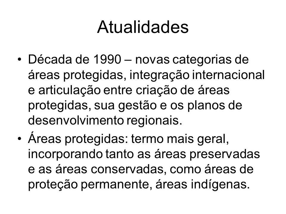 Atualidades Década de 1990 – novas categorias de áreas protegidas, integração internacional e articulação entre criação de áreas protegidas, sua gestã