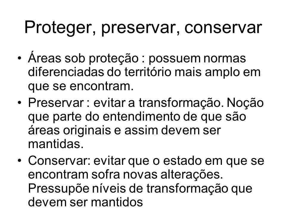 Proteger, preservar, conservar Áreas sob proteção : possuem normas diferenciadas do território mais amplo em que se encontram. Preservar : evitar a tr
