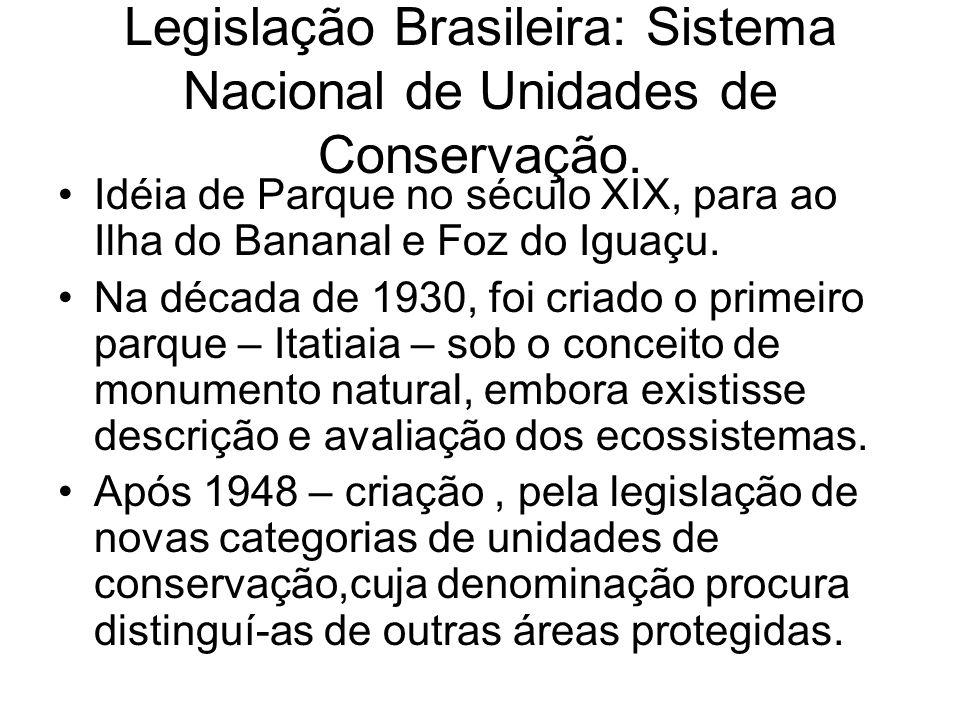 Legislação Brasileira: Sistema Nacional de Unidades de Conservação. Idéia de Parque no século XIX, para ao Ilha do Bananal e Foz do Iguaçu. Na década