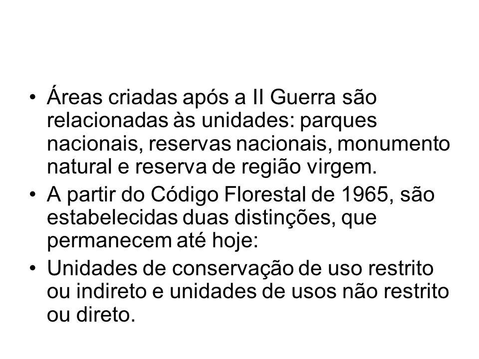 Áreas criadas após a II Guerra são relacionadas às unidades: parques nacionais, reservas nacionais, monumento natural e reserva de região virgem. A pa