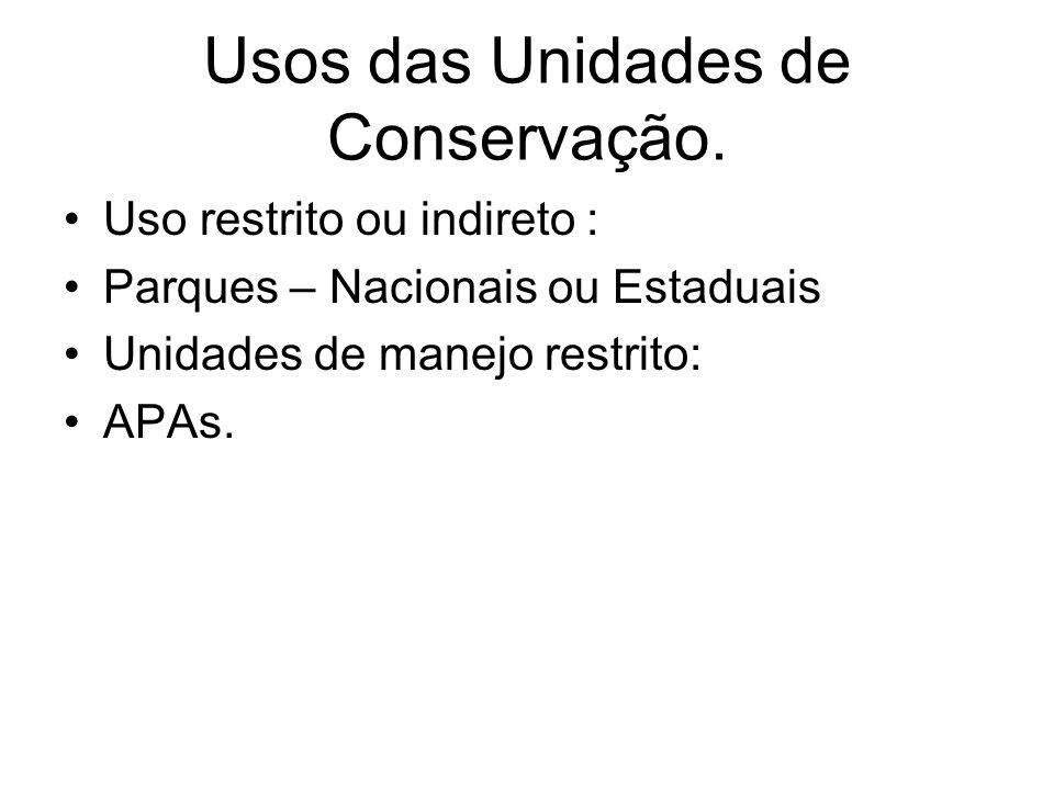 Usos das Unidades de Conservação. Uso restrito ou indireto : Parques – Nacionais ou Estaduais Unidades de manejo restrito: APAs.