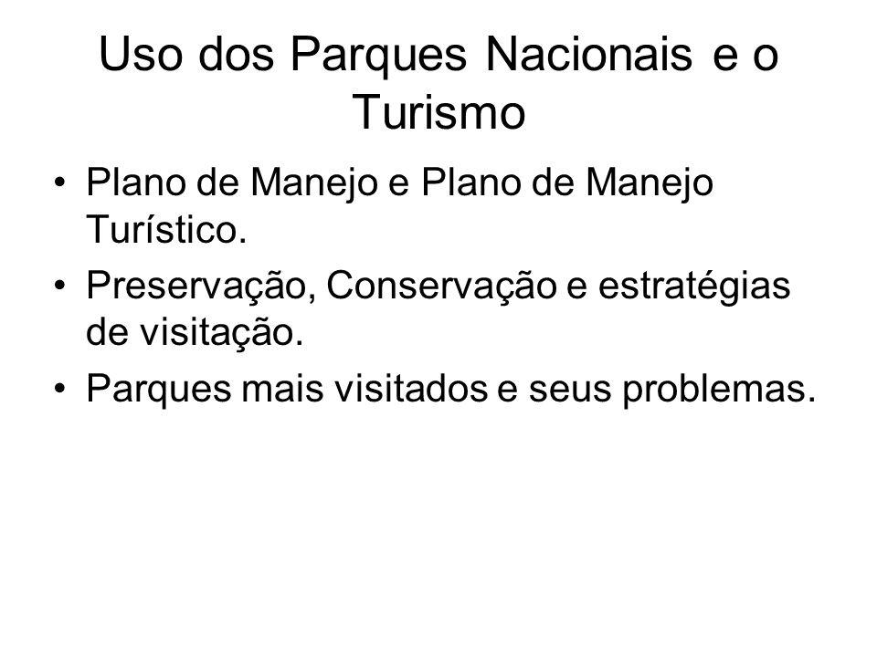 Uso dos Parques Nacionais e o Turismo Plano de Manejo e Plano de Manejo Turístico. Preservação, Conservação e estratégias de visitação. Parques mais v