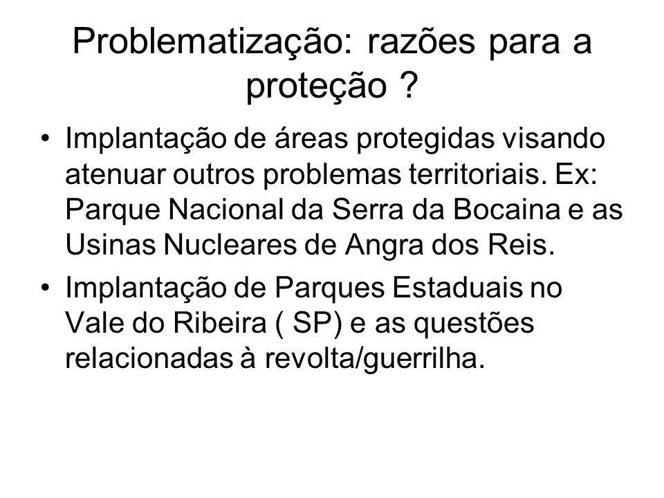 Problematização: razões para a proteção ? Implantação de áreas protegidas visando atenuar outros problemas territoriais. Ex: Parque Nacional da Serra