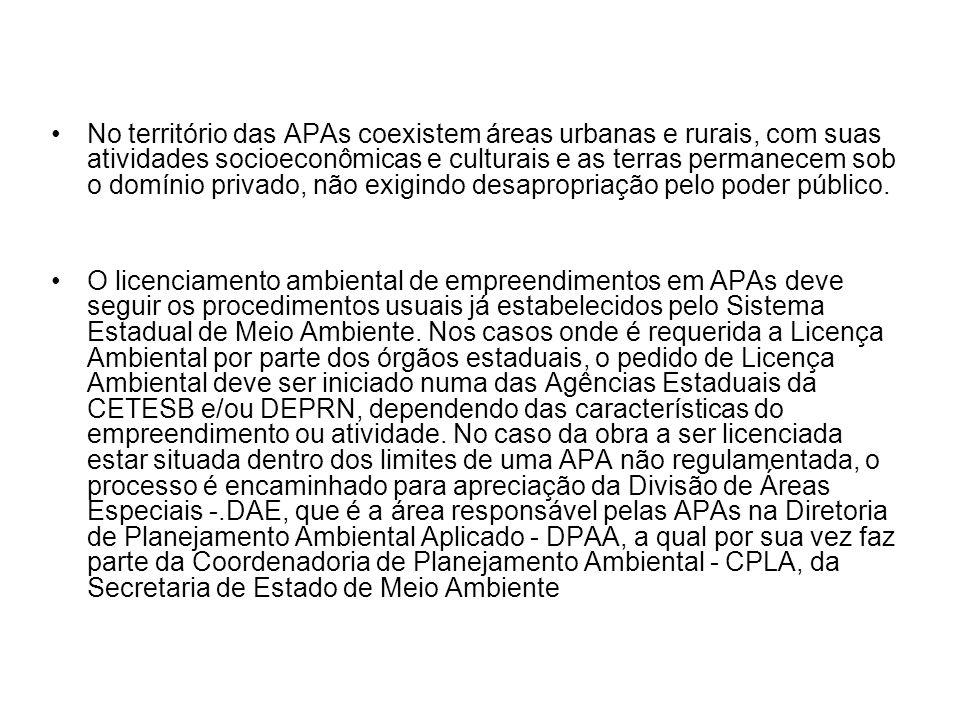 No território das APAs coexistem áreas urbanas e rurais, com suas atividades socioeconômicas e culturais e as terras permanecem sob o domínio privado,