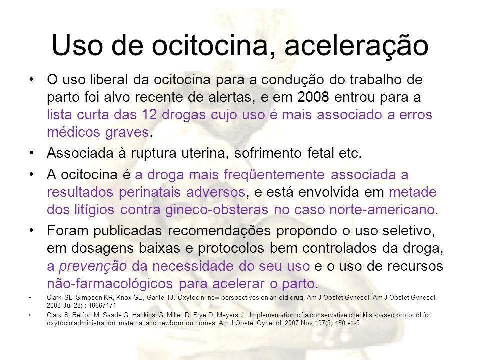 Uso de ocitocina, aceleração O uso liberal da ocitocina para a condução do trabalho de parto foi alvo recente de alertas, e em 2008 entrou para a lista curta das 12 drogas cujo uso é mais associado a erros médicos graves.