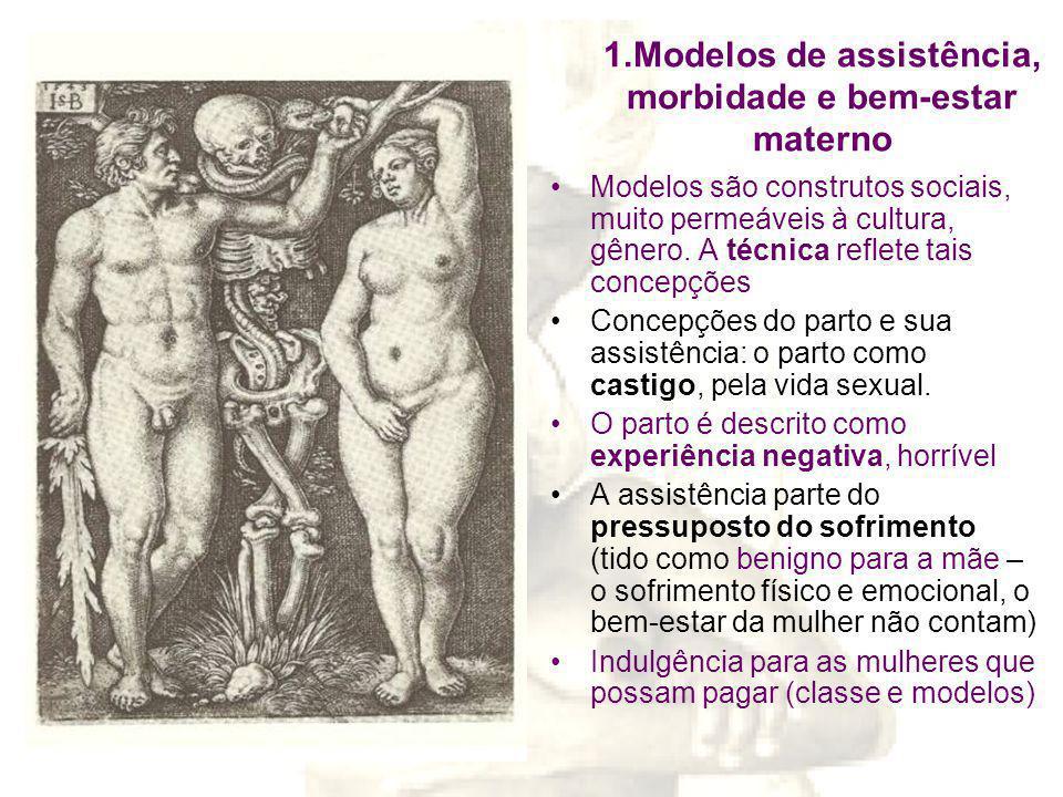 1.Modelos de assistência, morbidade e bem-estar materno Modelos são construtos sociais, muito permeáveis à cultura, gênero.