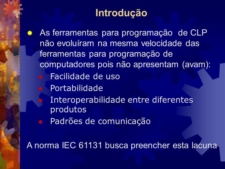 Introdução  As ferramentas para programação de CLP não evoluíram na mesma velocidade das ferramentas para programação de computadores pois não aprese