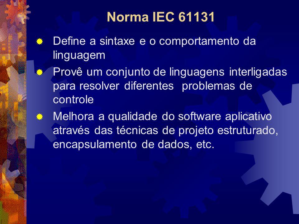 Norma IEC 61131  Define a sintaxe e o comportamento da linguagem  Provê um conjunto de linguagens interligadas para resolver diferentes problemas de