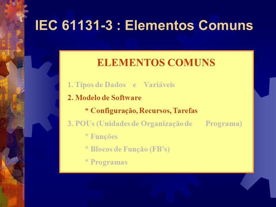 IEC 61131-3 : Elementos Comuns ELEMENTOS COMUNS 1. Tipos de Dados e Variáveis 2. Modelo de Software * Configuração, Recursos, Tarefas 3. POUs (Unidade