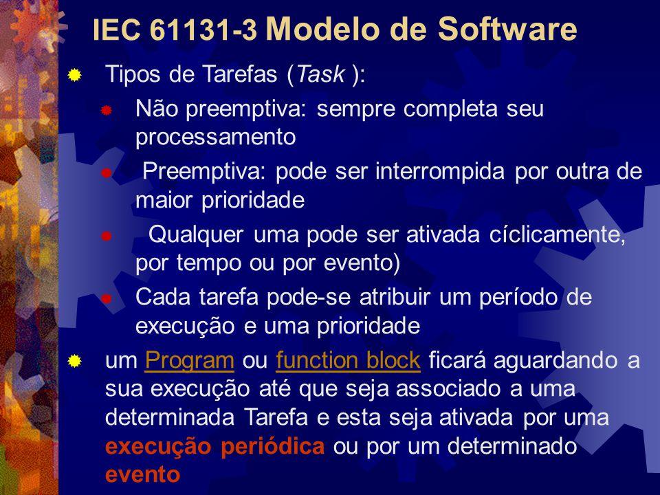 IEC 61131-3 Modelo de Software  Tipos de Tarefas (Task ):  Não preemptiva: sempre completa seu processamento  Preemptiva: pode ser interrompida por