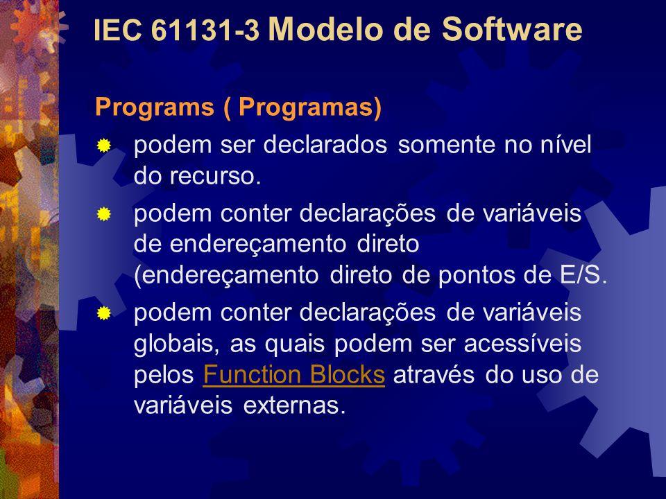 IEC 61131-3 Modelo de Software Programs ( Programas)  podem ser declarados somente no nível do recurso.  podem conter declarações de variáveis de en