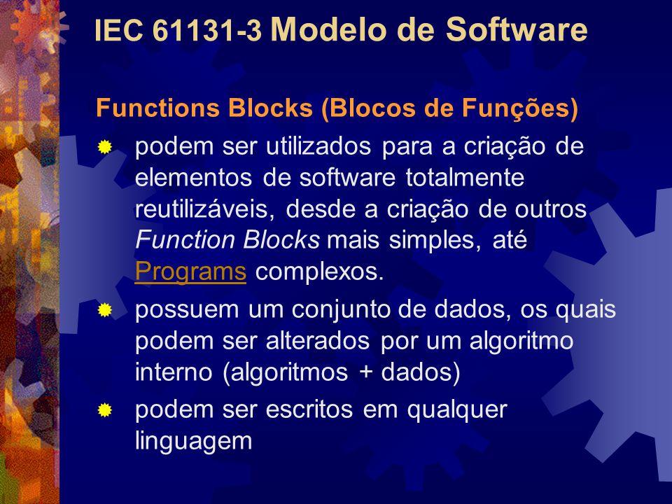 IEC 61131-3 Modelo de Software Functions Blocks (Blocos de Funções)  podem ser utilizados para a criação de elementos de software totalmente reutiliz