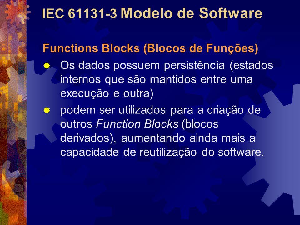 IEC 61131-3 Modelo de Software Functions Blocks (Blocos de Funções)  Os dados possuem persistência (estados internos que são mantidos entre uma execu