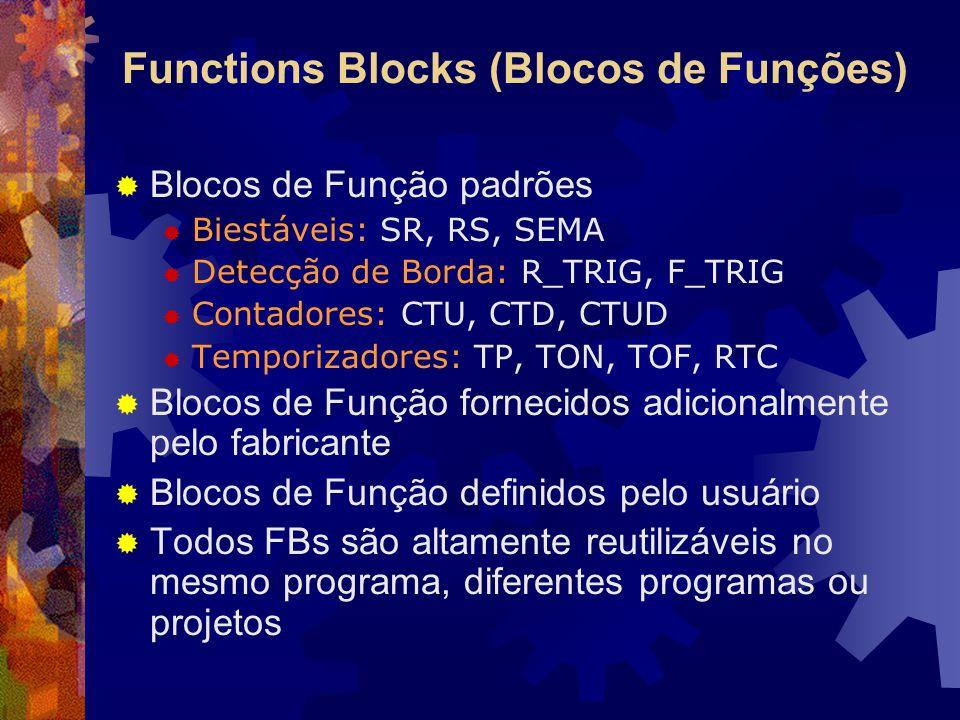 Functions Blocks (Blocos de Funções)  Blocos de Função padrões  Biestáveis: SR, RS, SEMA  Detecção de Borda: R_TRIG, F_TRIG  Contadores: CTU, CTD,