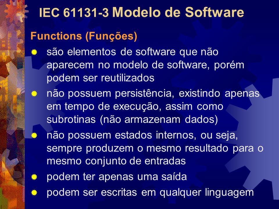 IEC 61131-3 Modelo de Software Functions (Funções)  são elementos de software que não aparecem no modelo de software, porém podem ser reutilizados 
