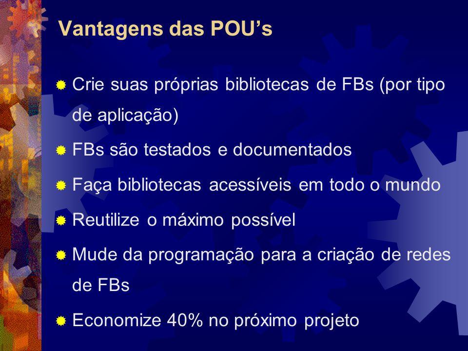Vantagens das POU's  Crie suas próprias bibliotecas de FBs (por tipo de aplicação)  FBs são testados e documentados  Faça bibliotecas acessíveis em