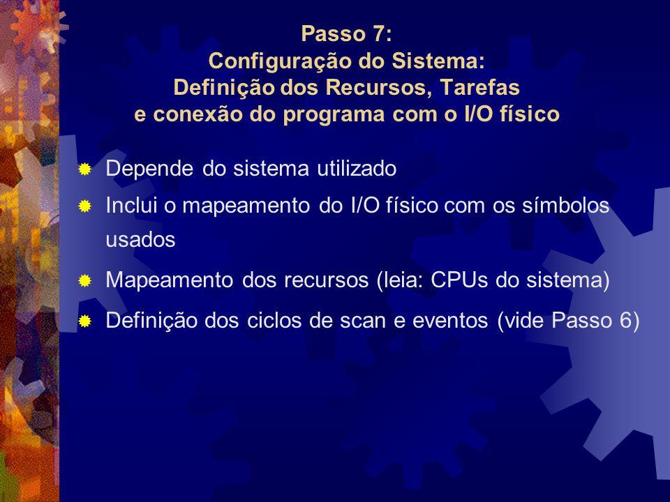  Depende do sistema utilizado  Inclui o mapeamento do I/O físico com os símbolos usados  Mapeamento dos recursos (leia: CPUs do sistema)  Definiçã