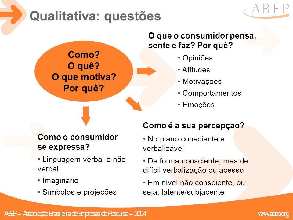 Como? O quê? O que motiva? Por quê? Qualitativa: questões O que o consumidor pensa, sente e faz? Por quê? Opiniões Atitudes Motivações Comportamentos