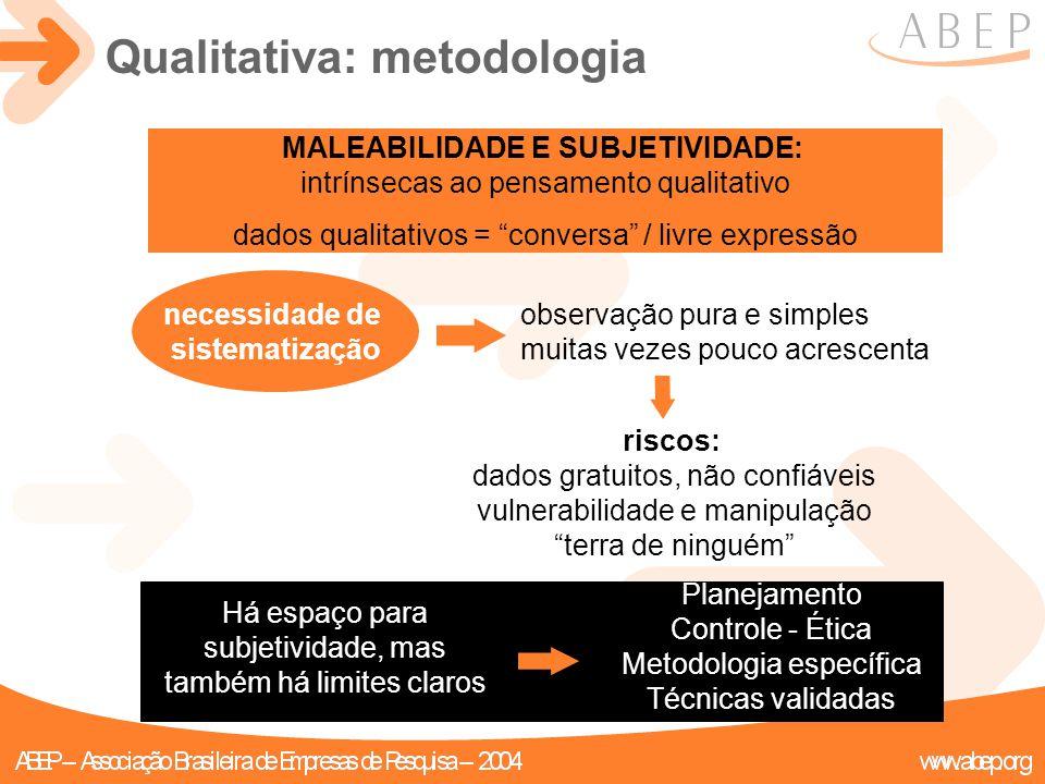 """MALEABILIDADE E SUBJETIVIDADE: intrínsecas ao pensamento qualitativo dados qualitativos = """"conversa"""" / livre expressão Qualitativa: metodologia Planej"""