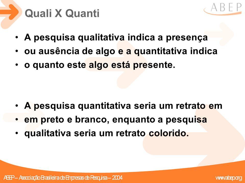 A pesquisa qualitativa indica a presença ou ausência de algo e a quantitativa indica o quanto este algo está presente. A pesquisa quantitativa seria u
