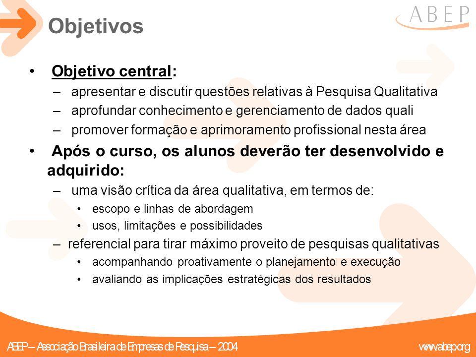 Objetivos Objetivo central: – apresentar e discutir questões relativas à Pesquisa Qualitativa – aprofundar conhecimento e gerenciamento de dados quali