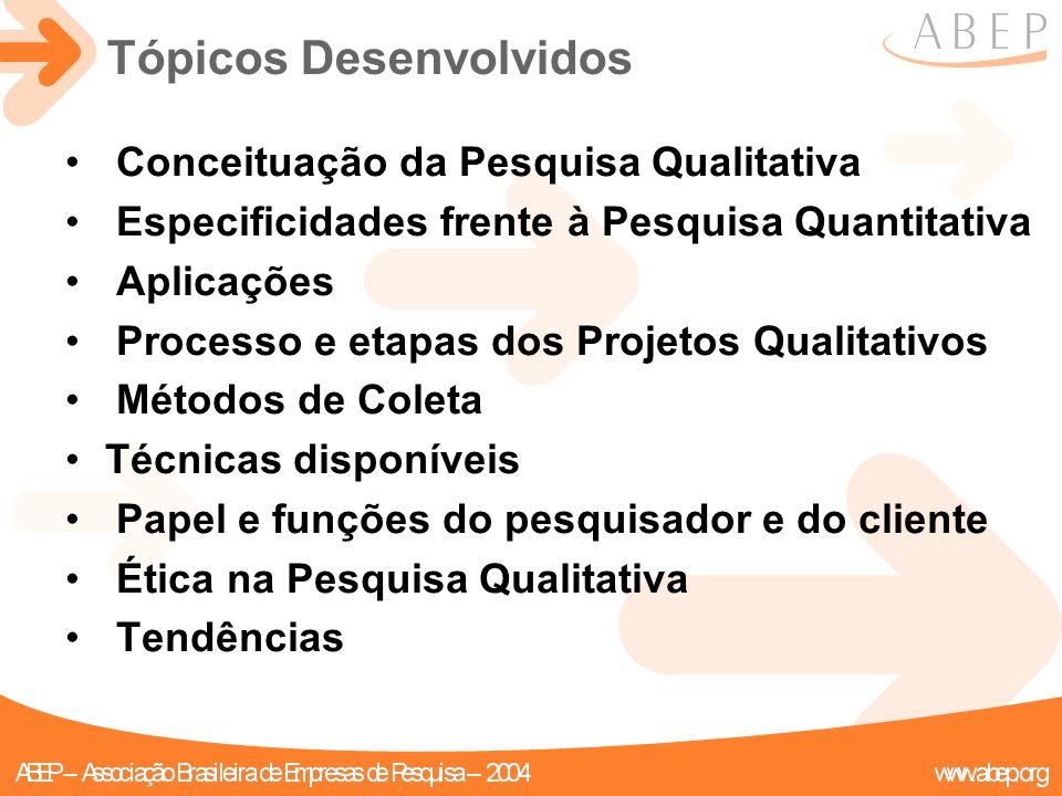 Tópicos Desenvolvidos Conceituação da Pesquisa Qualitativa Especificidades frente à Pesquisa Quantitativa Aplicações Processo e etapas dos Projetos Qu