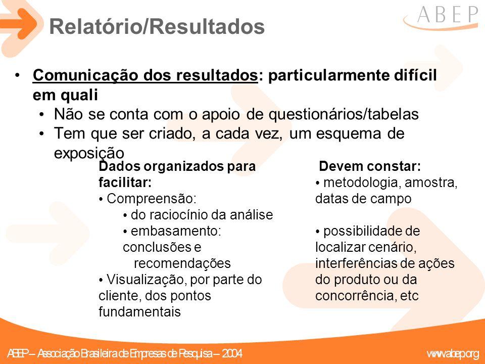 Relatório/Resultados Comunicação dos resultados: particularmente difícil em quali Não se conta com o apoio de questionários/tabelas Tem que ser criado