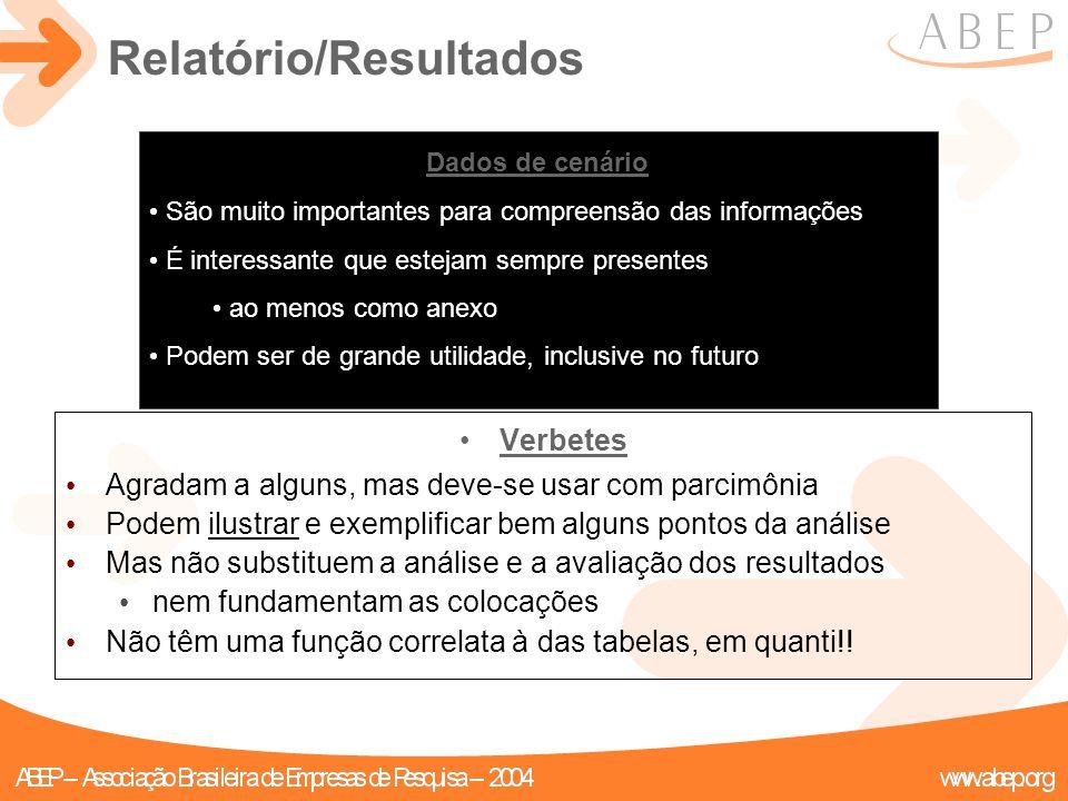 Relatório/Resultados Verbetes Agradam a alguns, mas deve-se usar com parcimônia Podem ilustrar e exemplificar bem alguns pontos da análise Mas não sub