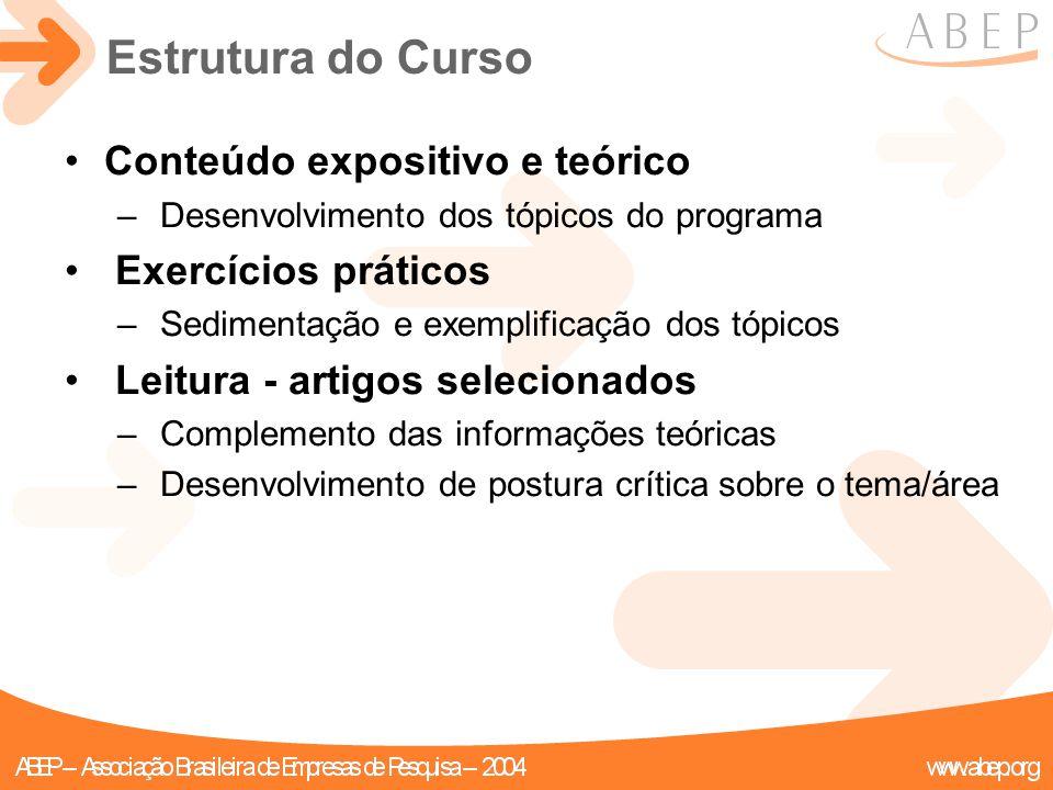 Estrutura do Curso Conteúdo expositivo e teórico – Desenvolvimento dos tópicos do programa Exercícios práticos – Sedimentação e exemplificação dos tóp