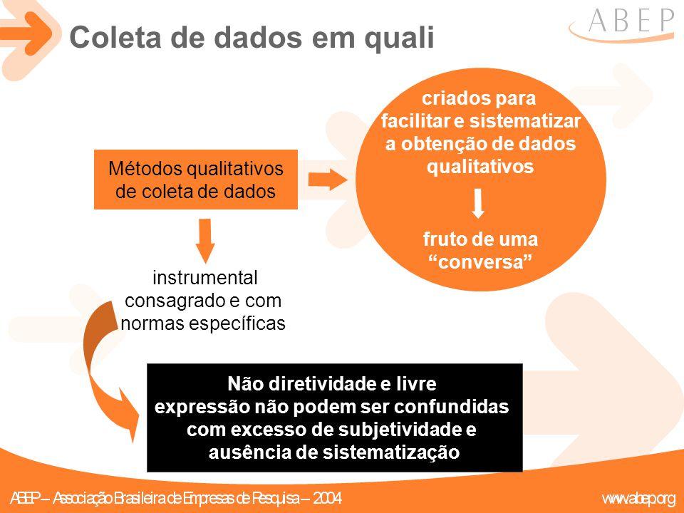 """Métodos qualitativos de coleta de dados criados para facilitar e sistematizar a obtenção de dados qualitativos fruto de uma """"conversa"""" instrumental co"""