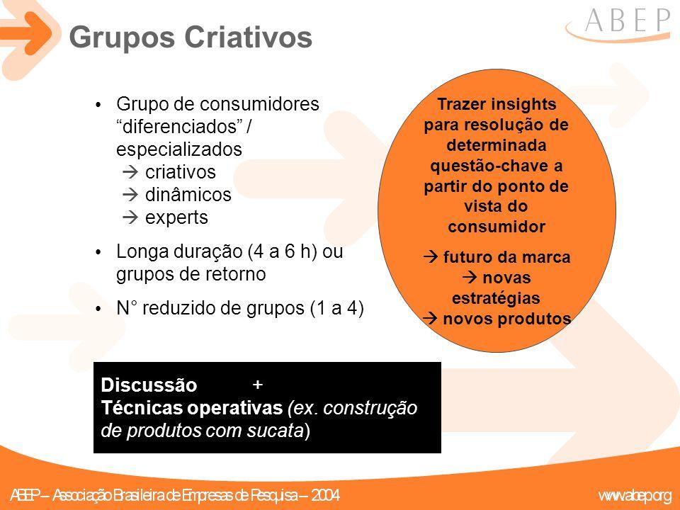 """Discussão + Técnicas operativas (ex. construção de produtos com sucata) Grupo de consumidores """"diferenciados"""" / especializados  criativos  dinâmicos"""