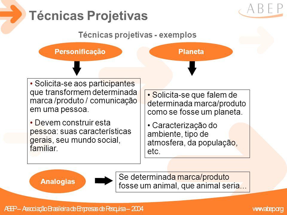 Analogias Técnicas projetivas - exemplos Personificação Solicita-se aos participantes que transformem determinada marca /produto / comunicação em uma